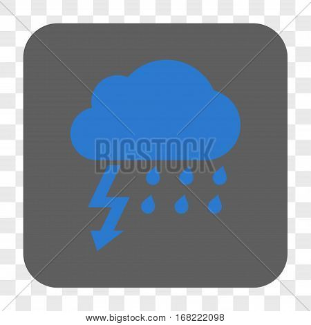 Thunderstorm interface toolbar button. Vector icon style is a flat symbol in a rounded square button blue and gray colors chess transparent background.