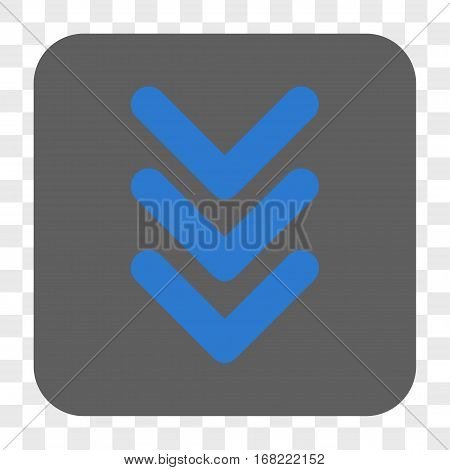 Triple Arrowhead Down interface toolbar button. Vector icon style is a flat symbol on a rounded square button blue and gray colors chess transparent background.