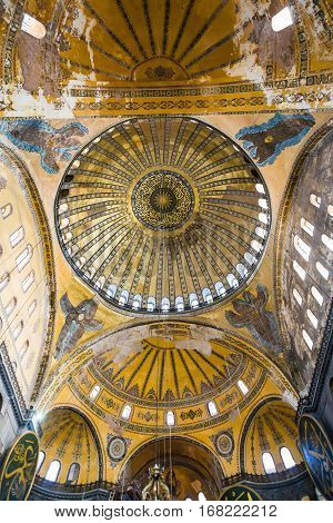 Dome Of Ancient Basilica Hagia Sophia In Istanbul