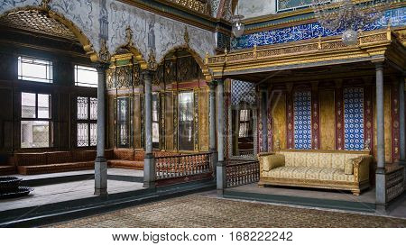 Imperial Hall With The Throne Of Sultan In Topkapi