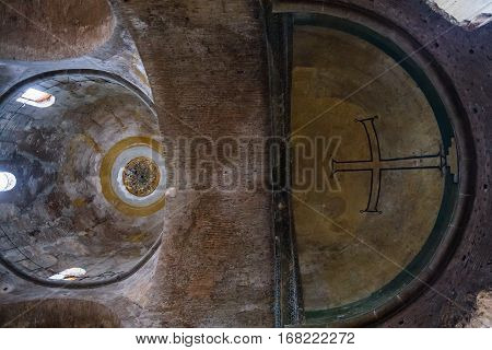 Dome And Apse With Cross In Hagia Irene Church