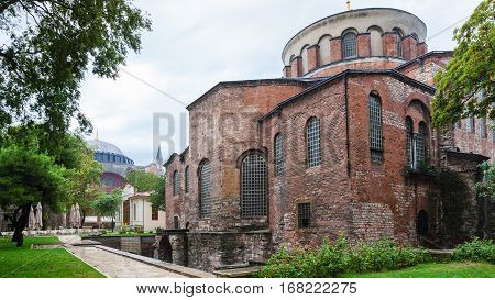 Edifice Of Ancient Hagia Irene Church In Istanbul