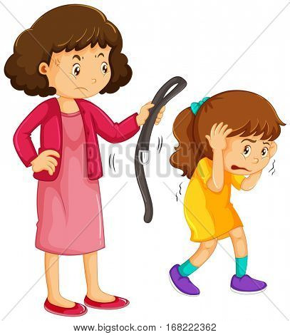 Girl being punished by mother illustration
