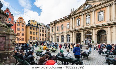 Tourists Near Swedish Academy On Stortorget
