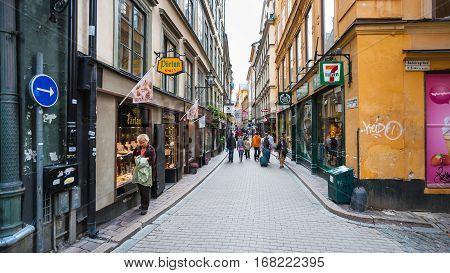 Shopping Vasterlanggatan Street In Stockholm City
