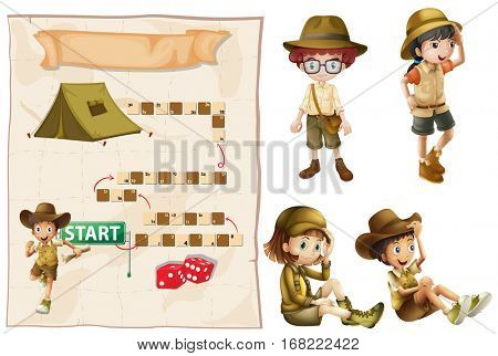 Game template with characters in safari outfit illustration