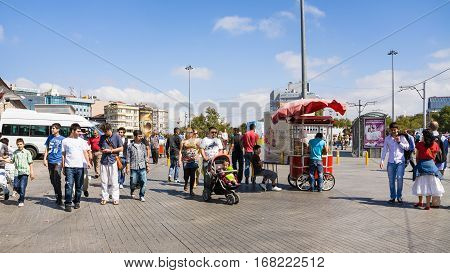 People Walk On Taksim Square In Istanbul City