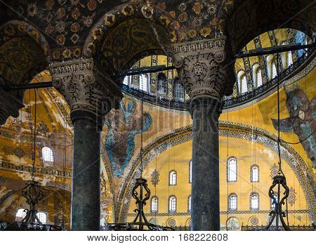 Column In Ancient Basilica Hagia Sophia I Istanbul