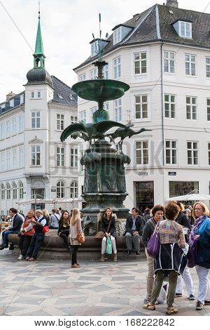 Tourists Near Stork Fountain On Amager Square