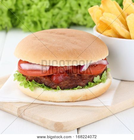 Hamburger And Fries Beef Tomatoes Lettuce