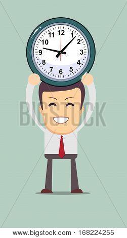 Portrait of a businessman holding a watch. Concept of time management in business work. Stock vector illustration