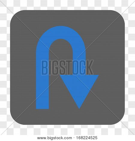 U Turn interface toolbar button. Vector icon style is a flat symbol in a rounded square button blue and gray colors chess transparent background.