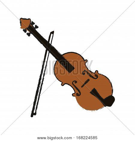 fiddle instrument icon over white background. vector illustration