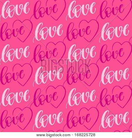 Romantic seamless pattern with handwritten lettering love,  and hearts for your design on pink background.