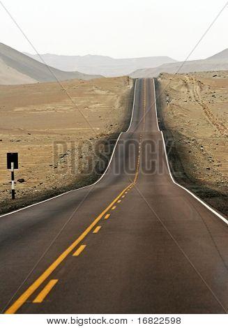 asphalt street in the midle of desert