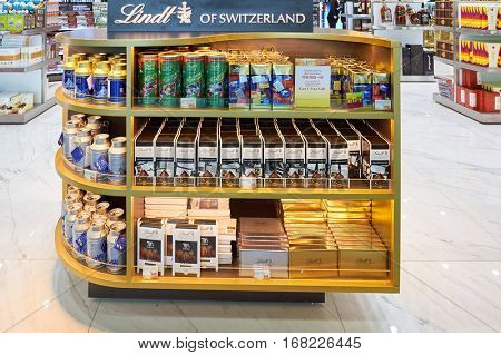 MACAO - CIRCA FEBRUARY, 2016: Lindt chocolate in a store at Macao International Airport. Lindt is a Swiss chocolatier and confectionery company