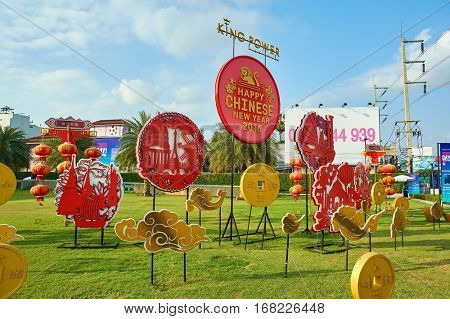 PATTAYA, THAILAND - CIRCA FEBRUARY, 2016: Chinese New Year decorations in Pattaya. The Chinese New Year is the most important holiday for ethnic Chinese people all around the world.