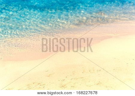 Close up sand with blurred sea sky / Paradise Tropical beach background / summer day