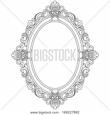 Vintage Oval Pattern Frame Border Engraving