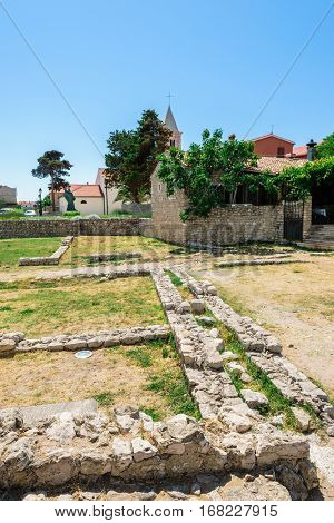 Nin, Croatia - July 30, 2015: Remains Of The Ancient Roman Cities In Nin In Croatia