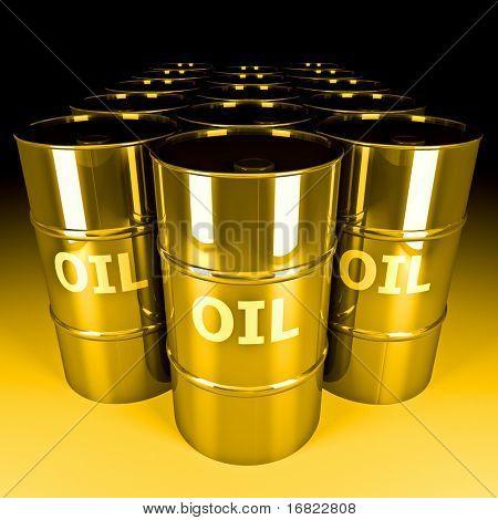 fine image 3d of gold oil barrel