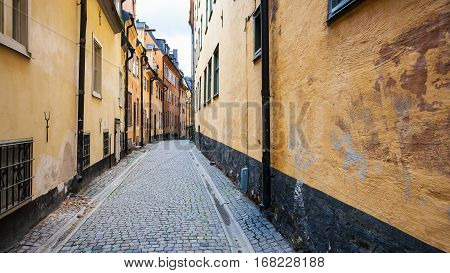 pedestrian street Prastgatan (Priest's street) in Old Town Galma Stan in Stockholm city