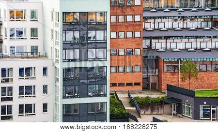 frnt view of modern apartment houses in Stockholm city