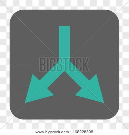 Bifurcation Arrow Down interface toolbar button. Vector icon style is a flat symbol on a rounded square button cyan and gray colors chess transparent background.