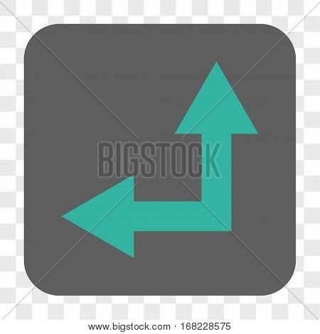 Bifurcation Arrow Left Up interface toolbar button. Vector icon style is a flat symbol on a rounded square button cyan and gray colors chess transparent background.