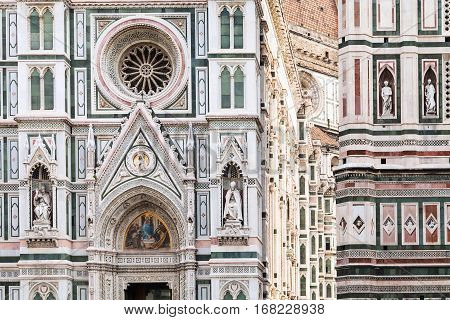 travel to Italy - decoration of Duomo Cathedral Santa Maria del Fiore and Giotto's Campanile in Florence city poster