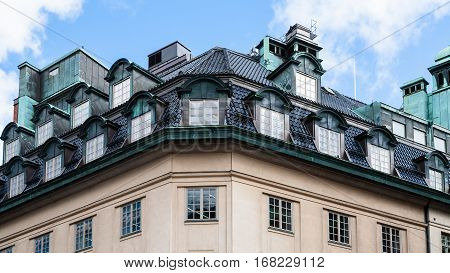 roof of apartment house in Stockholm city Sweden