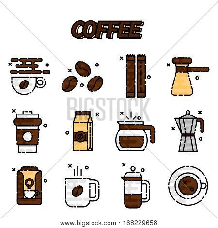 Coffee icons flat set with french press machine pouch grinder isolated vector illustration