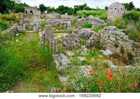 The ruins of the ancient city Side Turkey