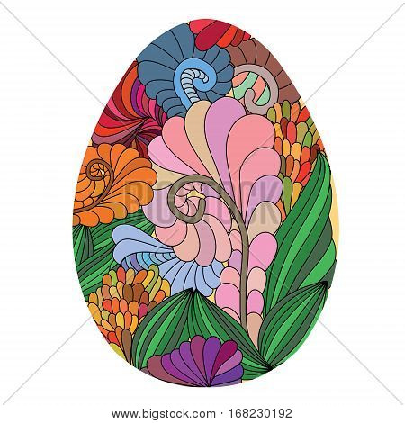 Colored Hand Drawn Ornamental Easter Egg With Doodle Pattern Wit