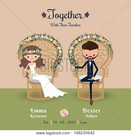 Rustic bohemian cartoon couple wedding invitation card sitting in chair