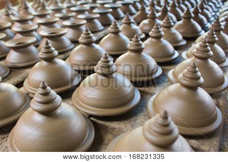 Thai handmade group of earthenware in a rows