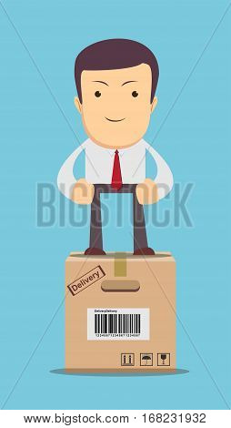 Businessman, manager or logistic stands on box. Vector, illustration flat