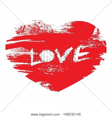 Hand Drawn With Brush Red Heart With Text Love. Design Element F