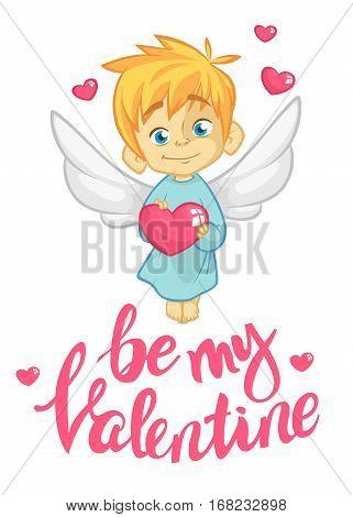 Cartoon cupid. St Valentine's vector postcard or invitation