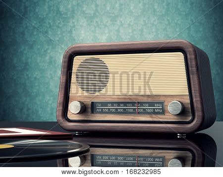 vintage radio and records background - 3D rendering