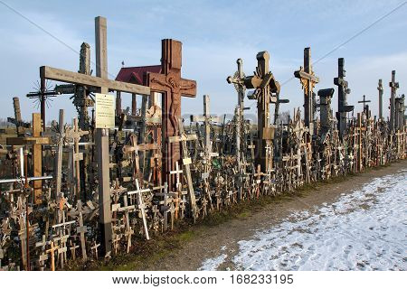Hill of Crosses Siauliai Lithuania. Jurgaiciai (Domantai) mound often called the