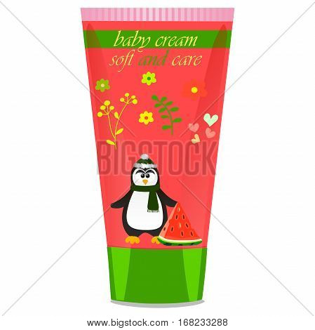 High quality original trendy vector Baby cream tube with kids design and pinguin, watermelon illustration