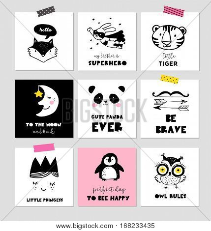 Scandinavian style, simple design, clean and cute black, white illustrations, collection of cards, posters for children room, nursery decor, interior design