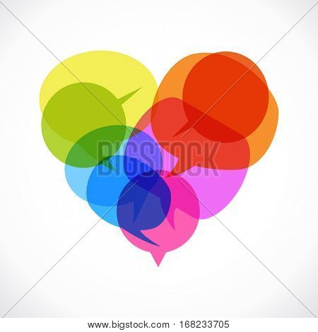 Heart design. Set of colored speech bubbles in form of heart. The file is saved in the version AI10 EPS. This image contains transparency.