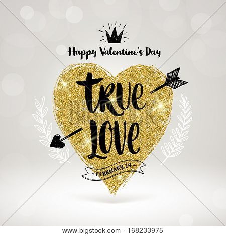 Valentine's day hand drawn calligraphy, doodle elements and glitter gold heart. Vector illustration.