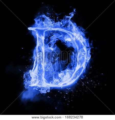 Fire letter D of burning blue flame. Flaming burn font or bonfire alphabet text with sizzling smoke and fiery or blazing shining heat effect. Incandescent cold fire glow on black background poster