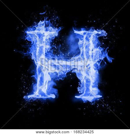 Fire letter H of burning blue flame. Flaming burn font or bonfire alphabet text with sizzling smoke and fiery or blazing shining heat effect. Incandescent cold fire glow on black background