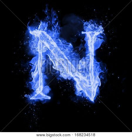 Fire letter N of burning blue flame. Flaming burn font or bonfire alphabet text with sizzling smoke and fiery or blazing shining heat effect. Incandescent cold fire glow on black background poster