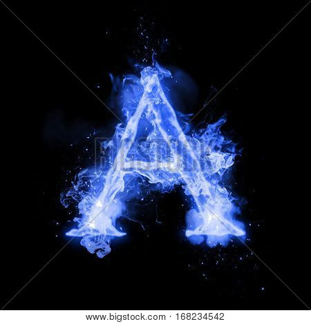Fire letter A of burning blue flame. Flaming burn font or bonfire alphabet text with sizzling smoke and fiery or blazing shining heat effect. Incandescent cold fire glow on black background