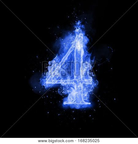 Fire number 4 four of burning blue flame. Flaming burn font or bonfire alphabet text with sizzling smoke and fiery or blazing shining heat effect. Incandescent cold fire glow on black background